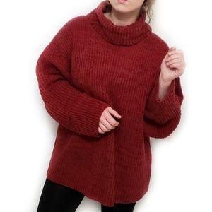 Vintage ribbed Cowl Neck Soft Oversized Sweater